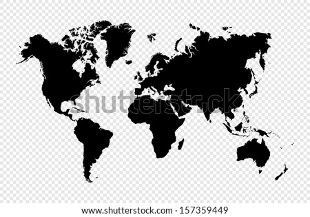 Black silhouette World map isolated. EPS10 vector file organized in layers for easy editing. - stock vector