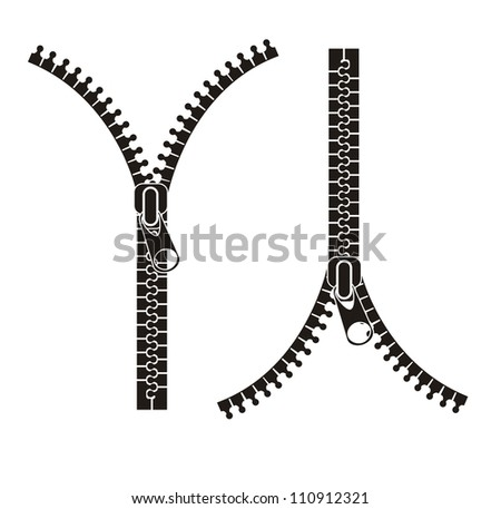 black silhouette zippers isolated over white background. vector illustration - stock vector