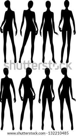 black silhouettes dummies fashion store, vector illustration