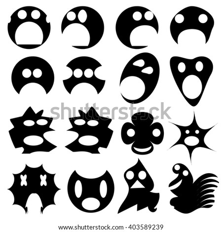 Black silhouettes ghosts on a white background. Vector set of funny faces