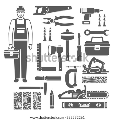 Black silhouettes icons set of sawing and carpentry tools and carpenter in overalls isolated vector illustration