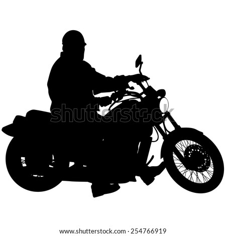 Black silhouettes Motocross rider on a motorcycle. Vector illustrations. - stock vector