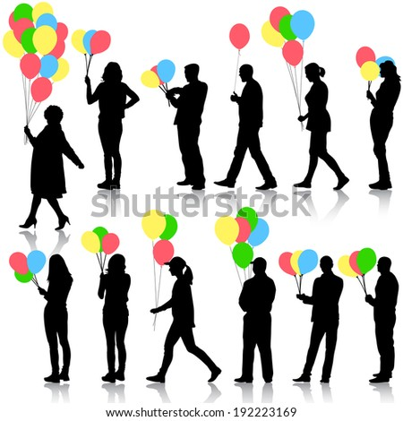 Black silhouettes of beautiful mans with balloons and womans on white background. Vector illustration. - stock vector