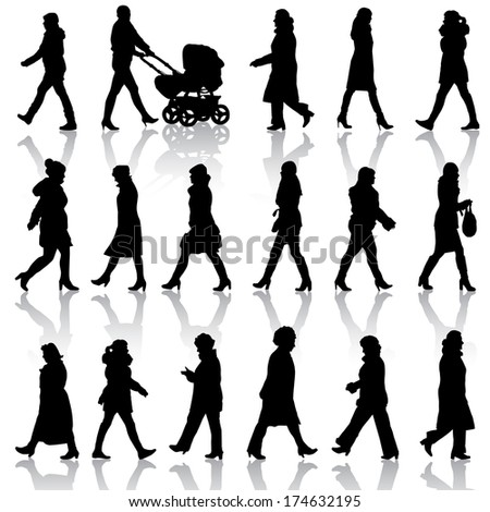 Black silhouettes of beautiful womans on white background. Vector illustration. - stock vector