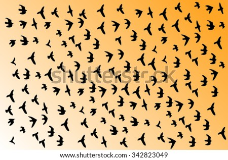 Black silhouettes of birds flying in the sky
