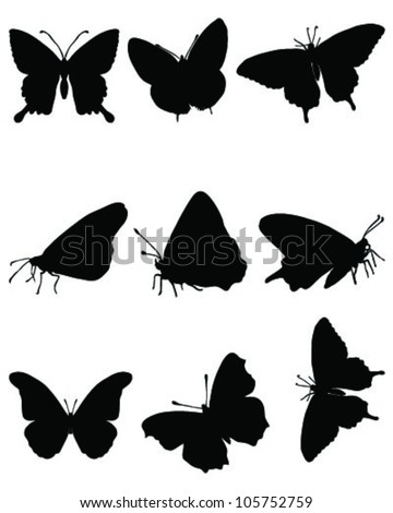 Black silhouettes of butterflies on a white background, vector - stock vector