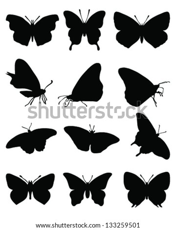 Black silhouettes of butterflies on a white background 2, vector - stock vector