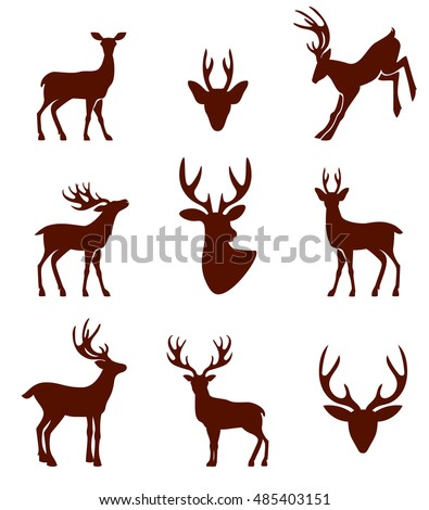 Black silhouettes of different deer horns. Vector illustration isolated on white background.