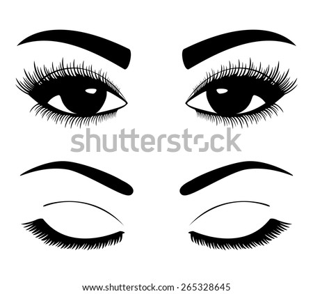 Black silhouettes of eyebrows and eyes isolated on white background. Open and closed eyes. - stock vector