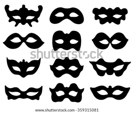 Black silhouettes of festive masks, vector