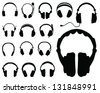 Black silhouettes of headphones-vector - stock photo