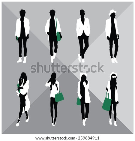 Black silhouettes of men and women - stock vector