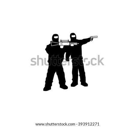 Black silhouettes of men with a assault rifle and a pistol - stock vector