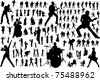 Black silhouettes of musicians. Vector illustration - stock vector