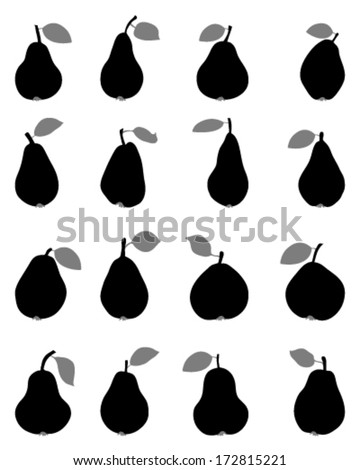 Black silhouettes of pears, vector - stock vector