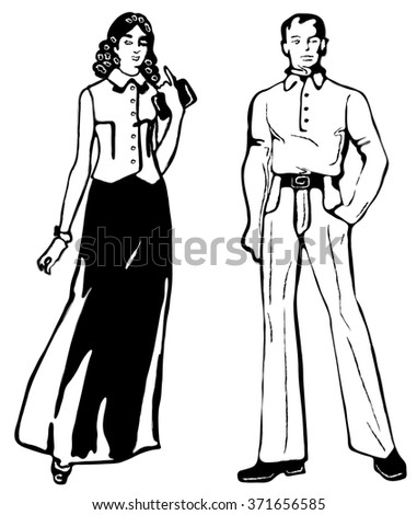 Black silhouettes of people on a white background. A man and a woman.Fashion show, party. - stock vector