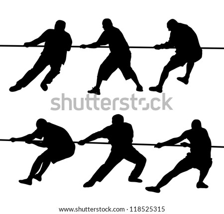 Black silhouettes of people pulling rope - stock vector