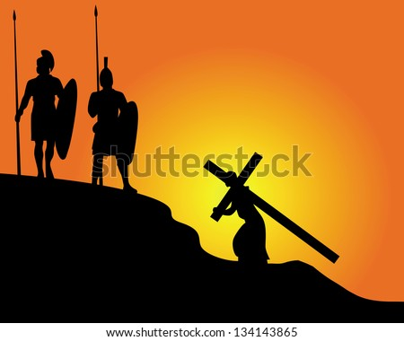 black silhouettes of soldiers carrying the cross and on an orange background - stock vector