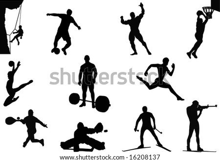 Black silhouettes of sportsmen on a white background in different kinds of sports