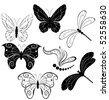 black silhouettes of stylized butterflies and dragonflies on a white background. - stock vector