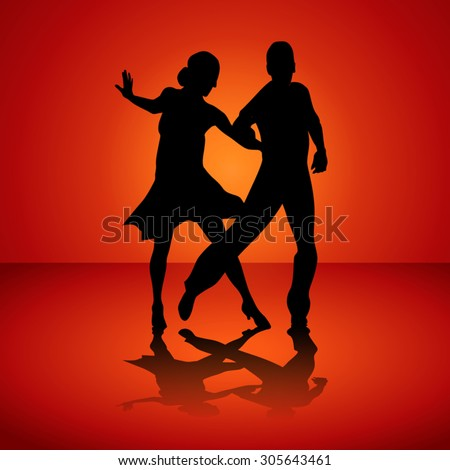Black silhouettes of the man and the woman dancing jive. Vector illustration - stock vector