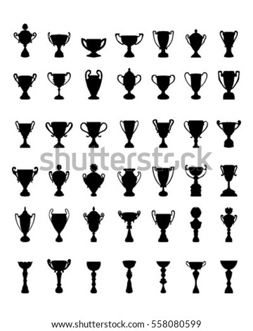Black silhouettes of trophy cups