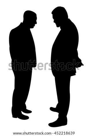 black silhouettes of two men standing and talking to each other - stock vector