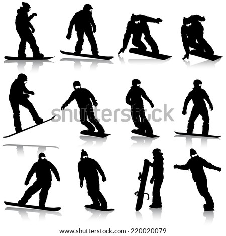 Black silhouettes set snowboarders on white background. Vector illustration. - stock vector