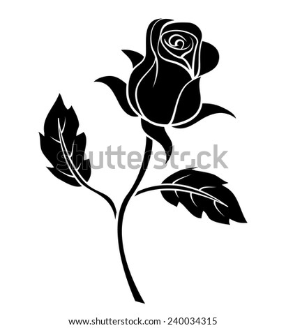 Black Silhoutte of Rose Vector Illustration - stock vector