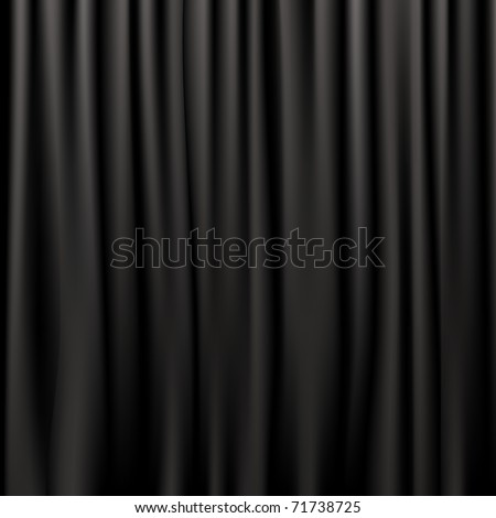 Black Silk Curtains, Vector Illustration - stock vector