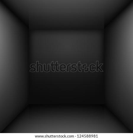 Black simple empty room interior. Illustration for design - stock vector