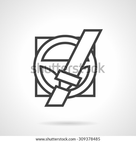 Black simple line design vector icon for steering wheel with locked seatbelt. Driver safety sign. Design element for business, logo and website. - stock vector