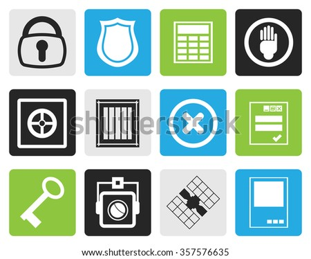 Black Simple Security and Business icons - vector  icon set