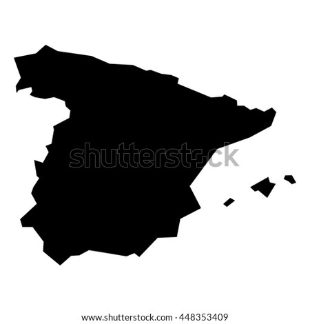 Black simplified flat silhouette map of Spain. Vector country shape.