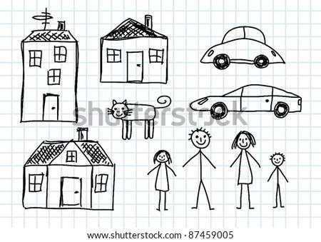 Black sketches - stock vector