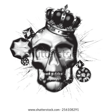 Black skull lithography style - stock vector