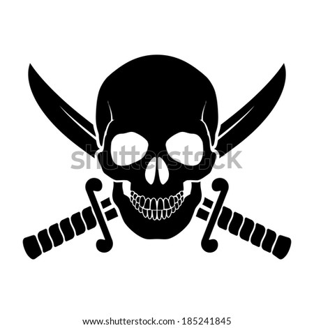 Black skull with crossed sabers behind it. Illustration of pirate symbol - stock vector