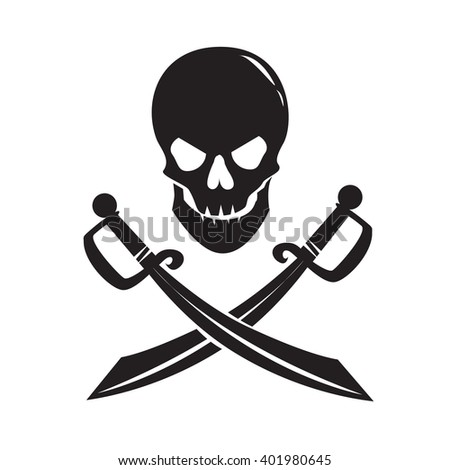 Black skull with swords isolated on white background. Vector Illustration - stock vector