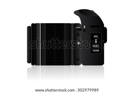 Black SLR Camera From Side On White Background