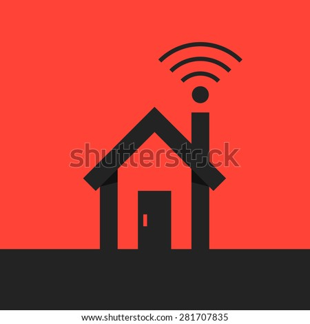 black smart house with wifi icon on red background. concept of networking, freelance, mobility, clever house. flat style trend modern logo design vector illustration