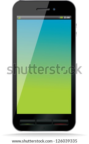Black smart phone. Blank Screen. Isolated. Vector