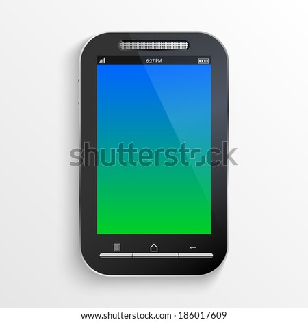 black smart phone isolated on white background