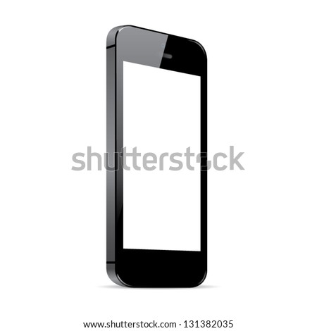 Black smart phone vector illustration isolated on white - stock vector