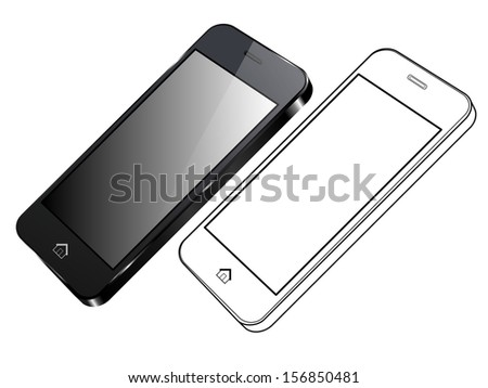 Black Smart Phone Vector. Right side view and out line