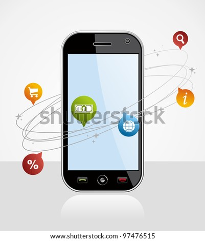 Black smart-phone with app over white background. EPS 8 vector, cleanly built with no open shapes or strokes. Grouped and ordered in layers for easy editing. - stock vector