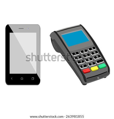 Black smartphone and pos terminal payment and shopping icon set, symbols - stock vector