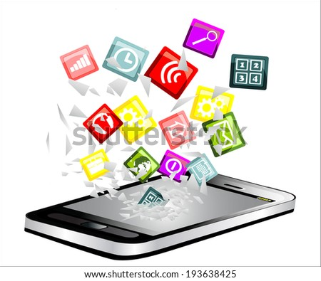 Black smartphone broken glass screen. Cloud of colorful application fly from a smartphone  as an online concept. - stock vector