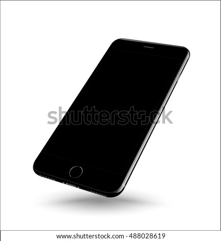 Black smartphone mockup perspective on white background. Vector realistic illustration.