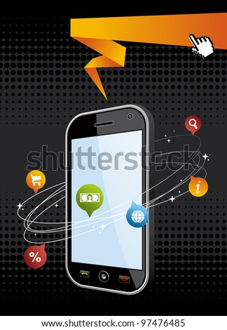 Black smartphone with app on black background. Mobile or Cell Phone device vector illustration. - stock vector