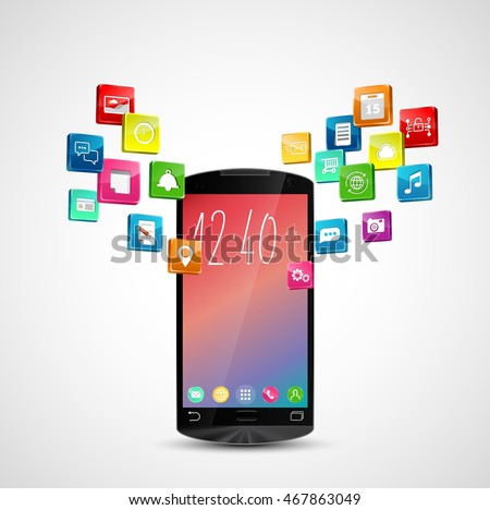 Black smartphone with application icons on white background.vector